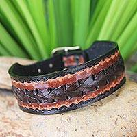 Men's leather wristband bracelet, 'Explorer' - Men's Unique Leather Wristband Bracelet from Thailand