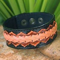 Men's leather wristband bracelet, 'Bangkok Casual' - Men's Hand Made Leather Wristband Bracelet