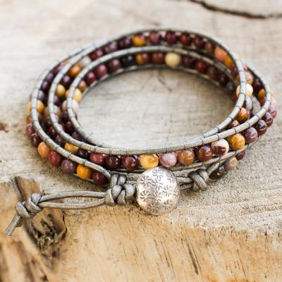 Jasper wrap bracelet, 'Forest Flower' - Hand Made Leather and Jasper Wrap Bracelet
