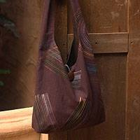 Cotton shoulder bag, 'Breath of the Earth' - Fair Trade Cotton Shoulder Bag