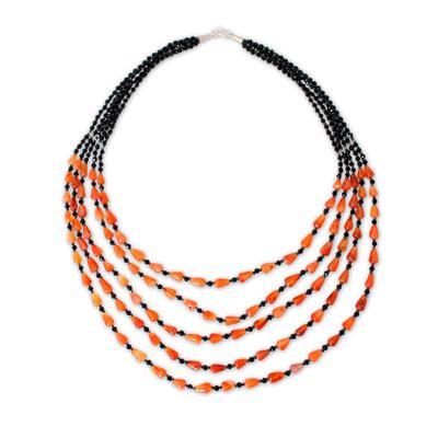 Handcrafted Beaded Carnelian Necklace