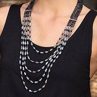Labradorite beaded necklace, 'Shadow Romance'