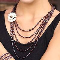 Garnet and cultured pearl beaded necklace, 'Wine Romance' - Floral Beaded Garnet Necklace