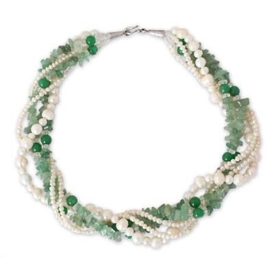Pearl and Quartz Torsade Necklace