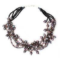 Cultured pearl beaded necklace, 'Luxurious Night'