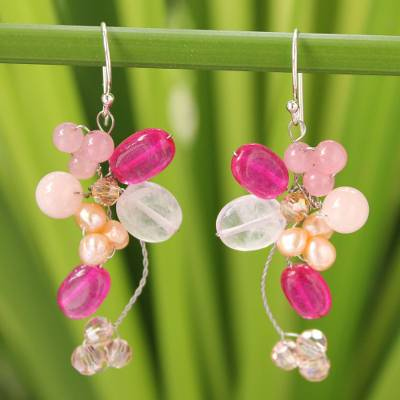 Pearl and rose quartz cluster earrings, 'Radiant Bouquet' - Handcrafted Quartz Dangle Earrings