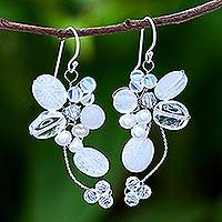 Pearl and quartz cluster earrings, 'Radiant Bouquet' - Pearl and Quartz Dangle Earrings