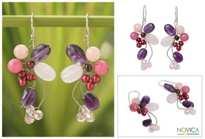 Cultured pearl and amethyst cluster earrings, 'Radiant Bouquet' - Beaded Rose Quartz and Pearl Dangle Earrings