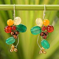 Cultured pearl and citrine cluster earrings, 'Radiant Bouquet' - Carnelian and Citrine Dangle Earrings