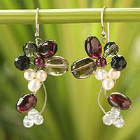 Cultured pearl and garnet cluster earrings,