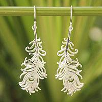 Sterling silver dangle earrings, 'Frozen Feathers' - Sterling Silver Dangle Earrings