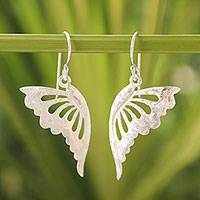 Sterling silver dangle earrings, 'Butterfly Dance' - Unique Sterling Silver Dangle Earrings