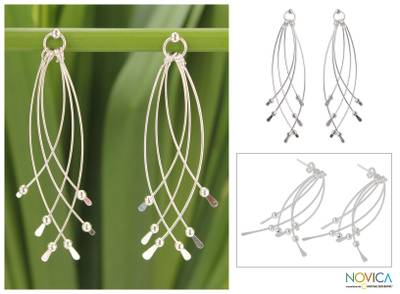 Sterling silver dangle earrings, 'Early Rain' - Handcrafted Sterling Silver Dangle Earrings