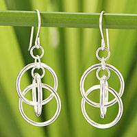 Sterling silver dangle earrings, 'Circle Game' - Modern Sterling Silver Dangle Earrings