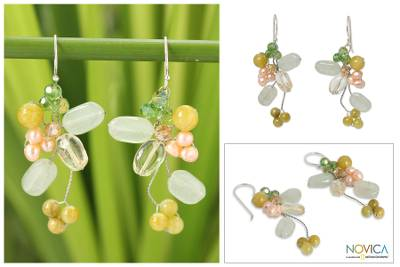 Cultured pearl and citrine cluster earrings, 'Lemon Bouquet' - Pearl and Quartz Earrings