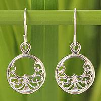 Sterling silver dangle earrings, 'Precious Lace' - Sterling Silver Dangle Earrings from Thailand