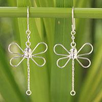 Sterling silver dangle earrings, 'Dragonfly Beauty' - Fair Trade Dragonfly Sterling Silver Earrings