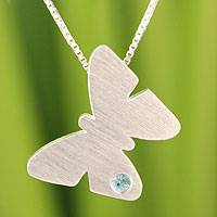 Blue topaz pendant necklace, 'Twinkling Butterfly'