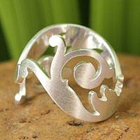 Sterling silver wrap ring, 'Unfurling'