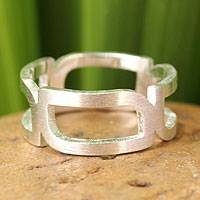 Sterling silver band ring, 'Rectangle Minimalist'