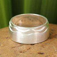 Sterling silver band ring, 'Moonlit Waves' - Handcrafted Sterling Silver Band Ring