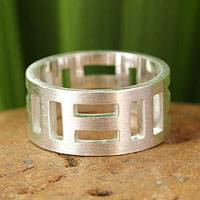 Sterling silver band ring, 'Symmetrical Mystique'