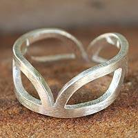 Sterling silver band ring, 'Melody'
