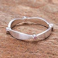 Pink tourmaline band ring, 'Corona Rose' - Sterling Silver Tourmaline Band Ring