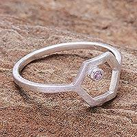 Tourmaline single stone ring, 'Honey Rose' - Hand Made Sterling Silver and Tourmaline Ring