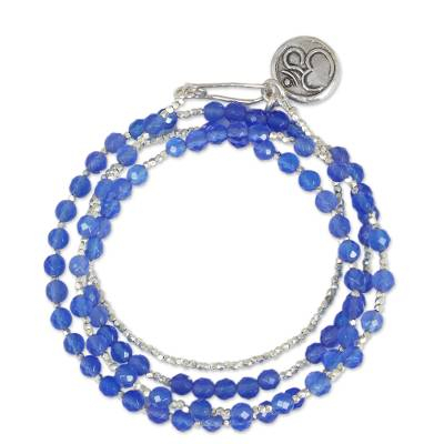 Unique Chalcedony and Fine Silver Wrap Bracelet