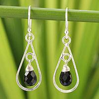 Onyx dangle earrings, 'Just Glow' - Sterling Silver and Onyx Dangle Earrings