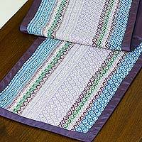 Cotton table runner, 'Purple Camellia' - Cotton table runner