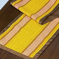 Cotton table runner, 'Honey Dew' - Cotton table runner