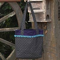 Cotton tote bag, 'Gray Versatility' - Cotton tote bag