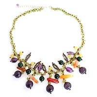 Amethyst and peridot beaded necklace,