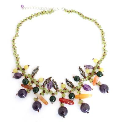 Amethyst and peridot beaded necklace