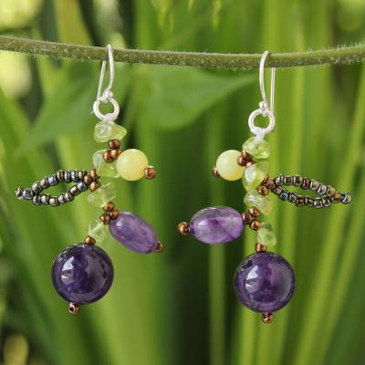 Amethyst and peridot beaded earrings, 'Lanna Exuberance' - Fair Trade Amethyst Beaded Earrings