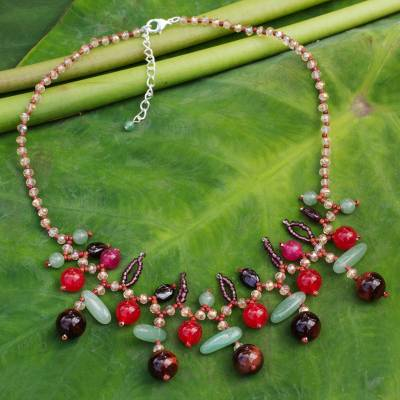 Garnet and tiger's eye beaded necklace, 'Lanna Glam' - Garnet and tiger's eye beaded necklace