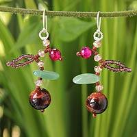 Aventurine and tiger's eye beaded earrings, 'Lanna Glam' - Aventurine and tiger's eye beaded earrings