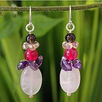 Amethyst and rose quartz dangle earrings, 'Sweet Love' - Amethyst and Quartz Beaded Earrings
