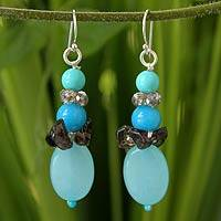 Gemstone dangle earrings, 'Peaceful Sky' - Beaded Quartz Earrings from Thailand