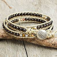 Smoky quartz wrap bracelet, 'Wild Adventure' - Smoky Quartz Beaded Wrap Bracelet