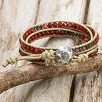 Carnelian and smoky quartz wrap bracelet, 'Sunny Shadows' - Carnelian and smoky quartz wrap bracelet