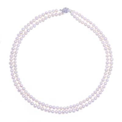 Cultured pearl strand necklace. 'Snowflake Halo' - Pearl Strand Necklace