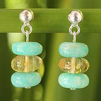 Amazonite and citrine dangle earrings,