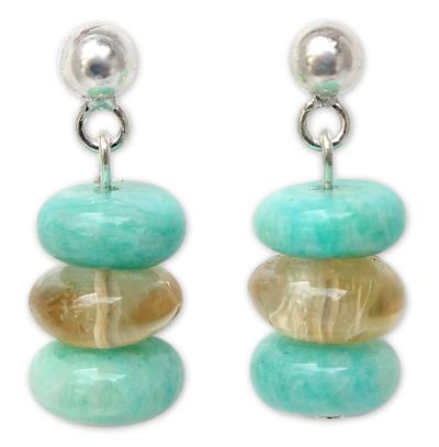 Amazonite and Citrine Dangle Earrings