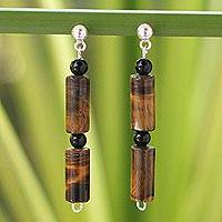 Tiger's eye and onyx dangle earrings. 'Honey Bamboo' - Women's Tiger's Eye Dangle Earrings
