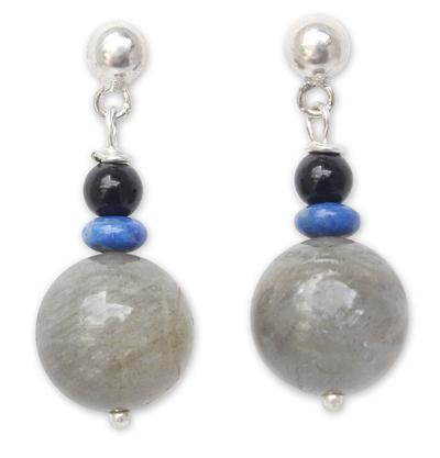 Labradorite and onyx dangle earrings
