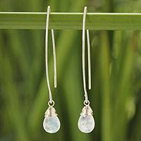 Rainbow moonstone dangle earrings, 'Sublime' - Hand Made Rainbow Moonstone and Silver Dangle Earrings