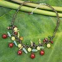 Carnelian and aventurine beaded necklace,